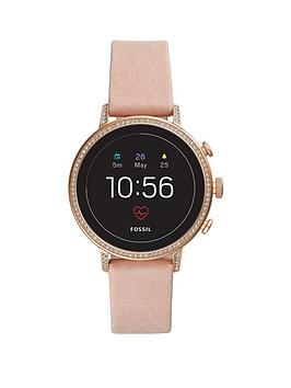 Fossil Fossil Fossil Q Venture Full Display Glitz Bezel Pink Leather Strap  ... Picture