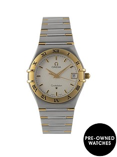 omega-pre-owned-constellation-quartz-silver-dial-two-tone-stainless-steel-bracelet-mens-watch-131230