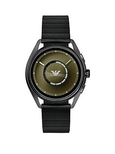 emporio-armani-matteo-full-display-olive-green-dial-black-leather-strap-mens-smart-watch