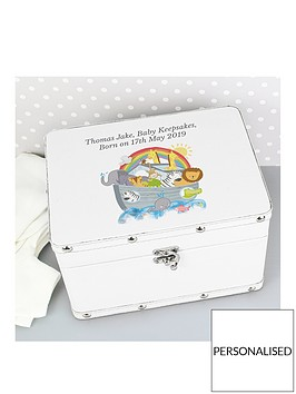 personalised-noahs-ark-white-faux-leather-keepsake-box