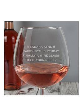 Product photograph showing Personalised Large Wine Glass