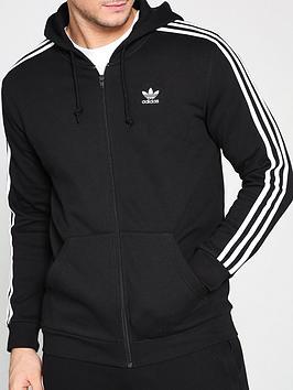 adidas Originals  Adidas Originals 3 Stripe Full Zip Hoodie - Black