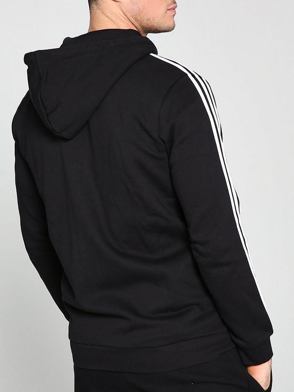 3 Stripe Full Zip Hoodie Black