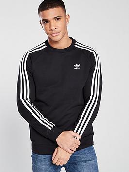 adidas Originals Adidas Originals 3 Stripe Crew Neck Sweat - Black Picture