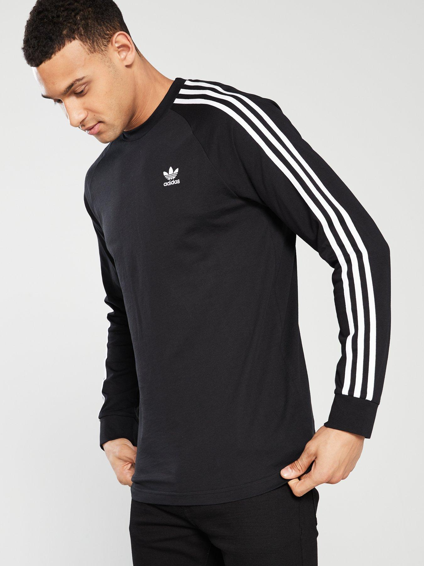 adidas 3 stripe black long sleeve t shirt
