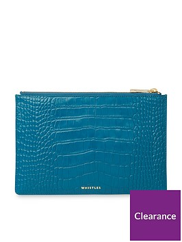 whistles-shiny-leather-crocodile-design-small-clutch-blue