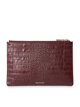 whistles-shiny-leather-croc-design-small-clutch