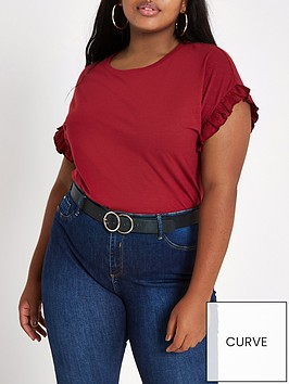 ri-plus-frill-sleeve-crew-neck-t-shirt-red