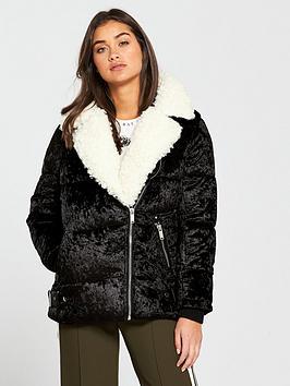 river-island-river-island-velvet-aviator-padded-jacket--black