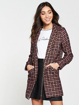 river-island-longline-boucle-jacket--red