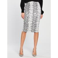 V by Very Textured Pencil Skirt – Snake Print