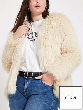 ri-plus-knitted-faux-fur-coat-cream