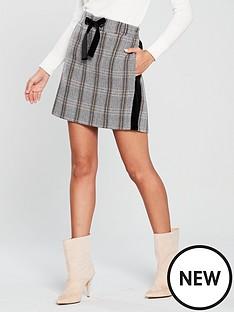 river-island-river-island-velvet-taped-check-skirt--brown