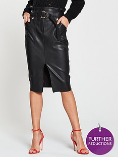 river-island-river-island-high-waisted-pu-midi-skirt--black