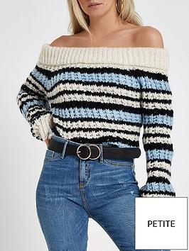 ri-petite-petite-chunky-knit-bardot-jumper--nbspbluewhiteblack