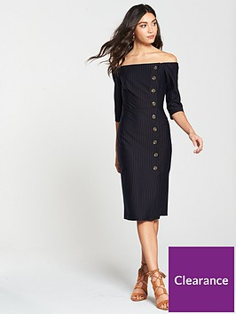 river-island-river-island-pinstripe-bardot-fitted-dress-navy