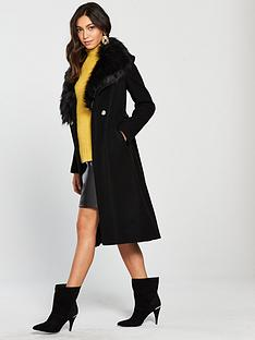river-island-river-island-faux-fur-collar-robe-coat--black