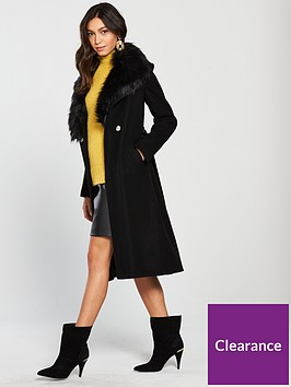 river-island-river-island-faux-fur-collar-robe-coat--black