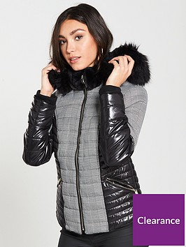 river-island-river-island-mixed-check-hooded-padded-jacket--black