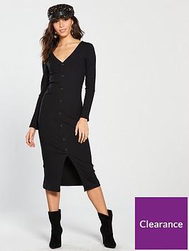 river-island-river-island-button-front-jersey-midi-dress-black