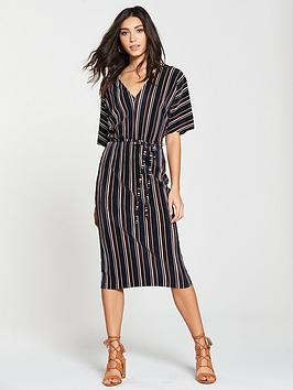 river-island-plisse-stripe-midi-skirt-navy