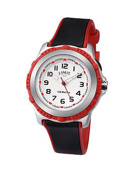 limit-limit-100-meters-waterproof-white-and-red-detail-dial-black-and-red-silicone-strap-kids-watch