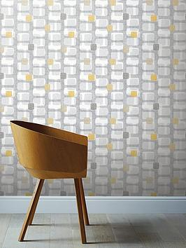 ARTHOUSE Arthouse Retro Block Ochre &Amp; Grey Wallpaper Picture