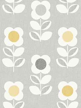 ARTHOUSE Arthouse Retro Floral Grey And Yellow Wallpaper Picture