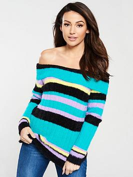 michelle-keegan-fluffy-bardot-knitted-jumper-stripe