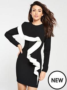 michelle-keegan-mono-frill-fitted-mini-dress-monochrome