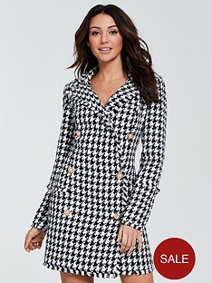 michelle-keegan-houndstooth-blazer-dress-monochrome