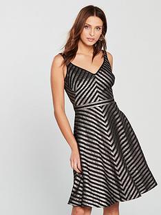 karen-millen-metallic-stripe-skater-dress-black