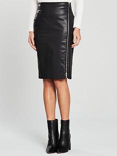 karen-millen-high-shine-coated-skirt-black