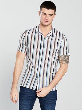 river-island-short-sleeve-blue-tan-stripe-shirt