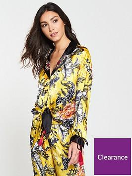 river-island-river-island-floral-tie-front-pyjama-shirt-yellow
