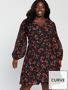 v-by-very-curve-volume-sleeve-wrap-dress-ditsy-print