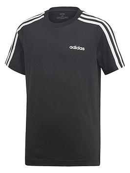 Adidas   Boys 3 Stripe Short Sleeve T-Shirt - Black