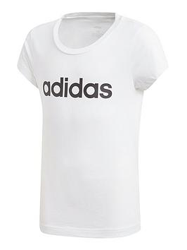 Adidas Adidas Girls Linear Short Sleeve T-Shirt - White Picture