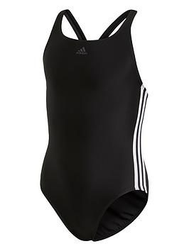 Adidas Adidas Girls Fit 3 Stripe Swimsuit - Black Picture