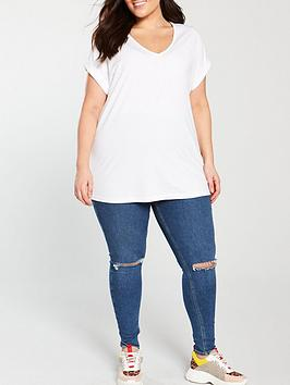 V by Very Curve V By Very Curve V-Neck Turn Back Cuff T-Shirt - White Picture