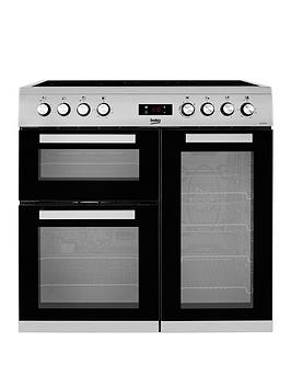 Beko   Kdvc90X 90Cm Wide Electric Range Cooker - Stainless Steel - Rangecooker With Connection