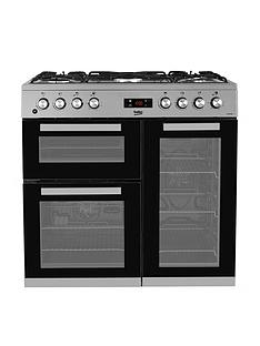 beko-kdvf90x-90cm-wide-dual-fuel-range-cooker-stainless-steel