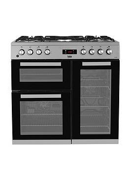 beko-kdvf90x-90cm-wide-dual-fuel-range-cooker-stainless-steel