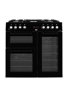 beko-kdvf90k-90cm-wide-dual-fuel-range-cooker-black-with-optional-connection