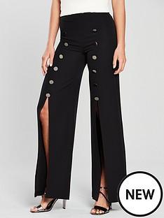 v-by-very-split-front-wide-leg-trouser-black