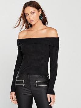miss-selfridge-long-sleeve-fold-over-jersey-rib-bardot-top-black
