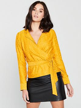 miss-selfridge-jacquard-wrap-blouse-ochre