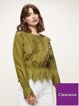 miss-selfridge-cutwork-broderienbspanglaise-blouse-khakinbsp