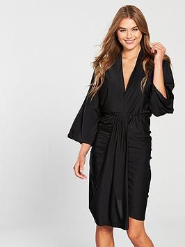 ax-paris-batwing-ruched-front-dress-black