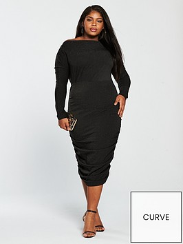 ax-paris-curve-curve-sparkle-ruched-midi-dress-black